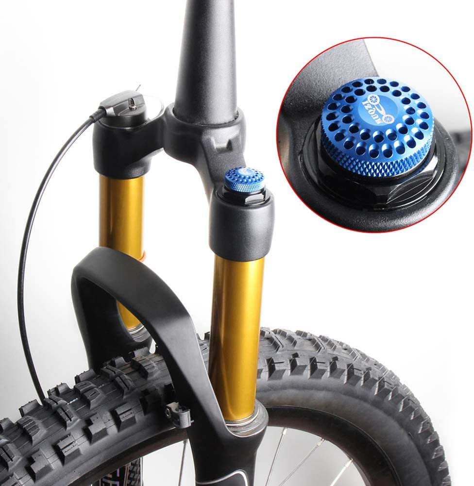 CALIDAKA Front Fork Gas Cover,Aluminum Alloy Cycling Mountain Bike Air Gas Fork Value Cover Bicycle Front Fork Shoulder Cover MTB Front Fork Cap Protector Cap Replacement Part Accessory