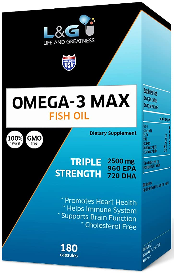 Omega-3 Fish Oil 2500mg with Highest Triglyceride EPA & DHA | Heart, Brain & Joint Support |Non-GMO & Gluten Free ~ Natural 180 Fish Gel Capsules, Lemon Flavor