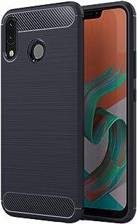 Simpeak ZenFone 5 ZE620KL 対応 ケース ZE620KL/ZS620KL 適応 炭素繊維保護カバー TPUスマホバンパー 軽量 防指紋 脱装簡単 6.2インチ専用(ブルー)