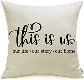 "Meekio Farmhouse Pillow Covers with This is Us Quote 18"" x 18"" for Farmhouse.."