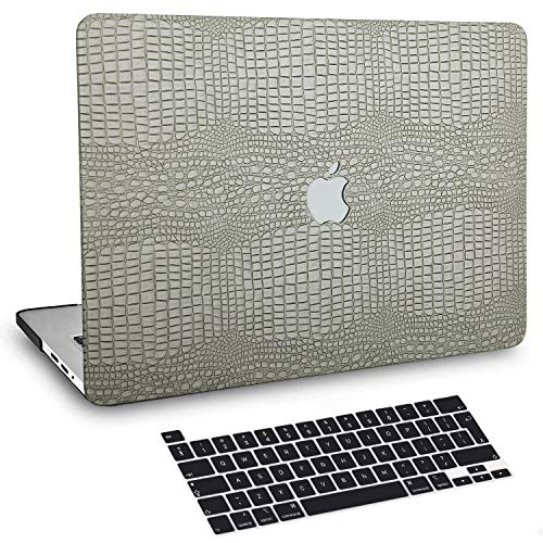 BELK MacBook Pro 13 inch Case 2020-2016 with Touch Bar M1 A2338 A2289 A2251 A2159 A1989 A1706 A1708, Crocodile Skin Pattern PU Leather Hard Shell with Keyboard Cover Compatible with Pro 13.3, Green