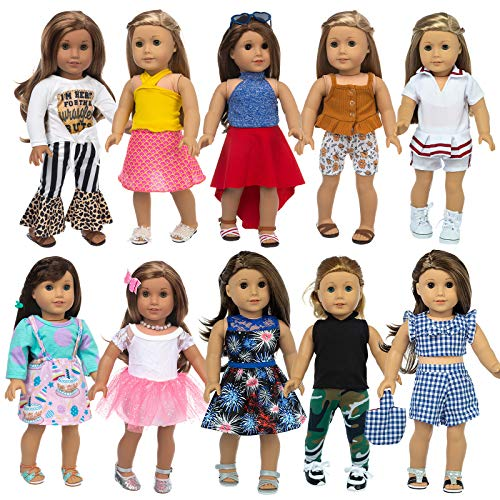 XFEYUE 22 Pcs 18 inch Doll Clothes Gifts and Accessories, Fit American 18 inch Girls Doll - Including 10 Sets of Various Styles Doll Clothes, Hair Clips and Sunglasses Handbags