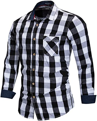 Camisa Casual de Manga Larga de algodón Camisa a Cuadros ...