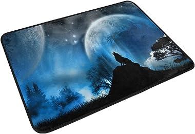 MASSIKOA Moonight Wolf Howling Non Slip Backing Entrance Doormat Floor Mat Rug Indoor Outdoor Front Door Bathroom Mats, 23.6