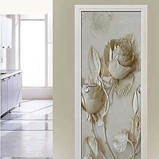 Stickers Muraux Autocollant De Porte Imperméable Auto-Adhésif En Pvc, Décoration De Papier Peint Mural Fleur 3D