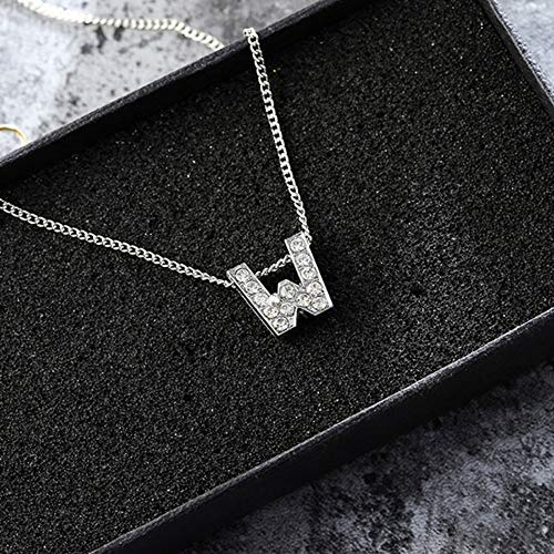 BUYAO Collier Pendentif Rhinestone Pavé Pendant Initial Name Necklace Thin Chain Link Custom Charm Necklace Female Men's Birthday Gift,X