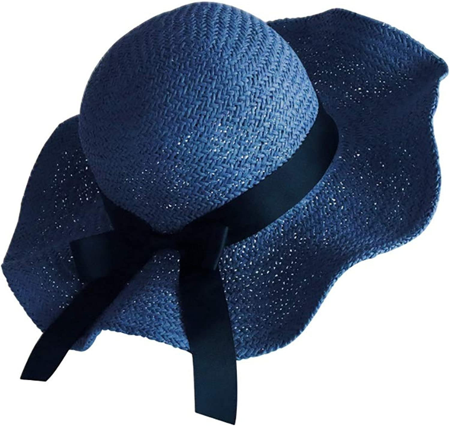 Beach Straw Hat Female Foldable bluee with Shaping Wire, Can Change The Shape at Will