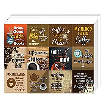 Creanoso Coffee Stickers Series I  10-Sheet  – Total 120 pcs  10 X 12pcs  Individual Small Size 2.1 x 2 Inches  Waterproof Unique Personalized Themes Designs Any Flat Surface DIY Decoration Art Decal for Boys & Girls Children Teens