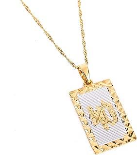 24K New Islamic Allah Pendant Charm Gold Pendant Necklace Religious Muslim Jewelry