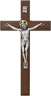 All Patron Saints Beveled Walnut Crucifix Wall Cross with Silver Color Corpus and INRI 8 Inch