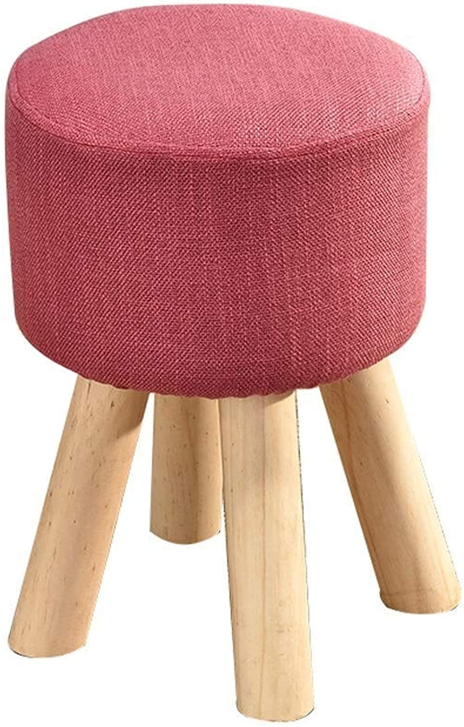 Footstool Change shoes Bench Simple Solid Wooden Legs Upholstered Seating Chair Round Wood Stool Home Foot Stools LEBAO (color   pink)
