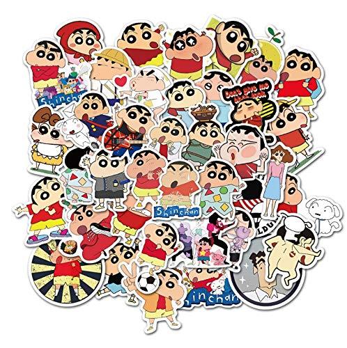 WYDML Dibujos animados Crayon Shin-Chan Graffiti Impermeable Monopatín Maleta de Viaje Teléfono Portátil Equipaje Pegatinas Lindo Niños Niña 50 Piezas