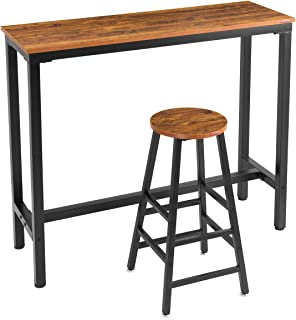 """Mr IRONSTONE 2-Piece Bar Table Set, 47 """"Pub Dining Height Table Bistro Table with Vintage 1 Bar Stool (Indoor USE ONLY)"""