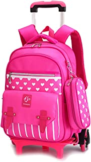 ZEVONDA Children's Trolley Schoolbag - Kids Boys Girls New Style Waterproof Six-Wheeled Backpack for Pupils Primary School Students - Rose Red