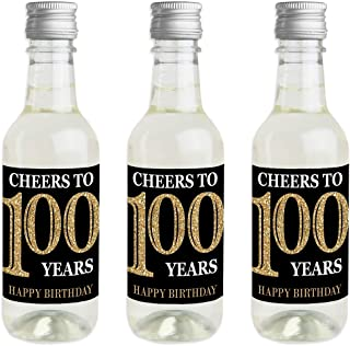 Adult 100th Birthday - Gold - Mini Wine and Champagne Bottle Label Stickers - Birthday Party Favor Gift for Women and Men - Set of 16
