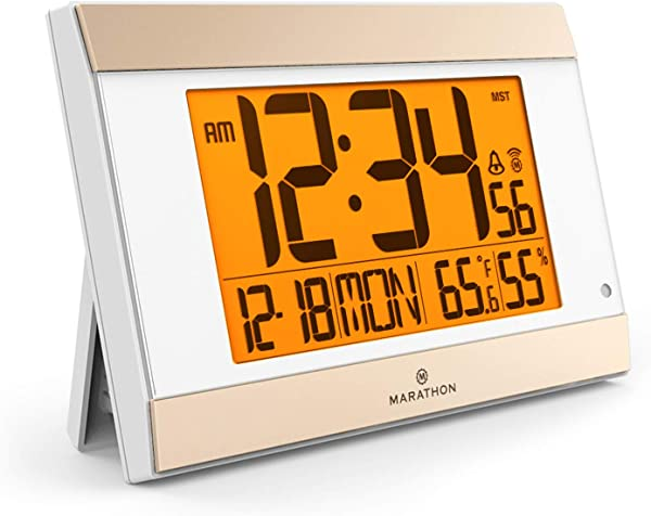 MARATHON CL030052WH Atomic Digital Wall Clock With Auto Night Light Temperature Humidity Batteries Included