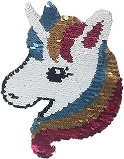 Wilk Rosa Lindo del Unicornio Caballo Lentejuelas Patch Patch Brillante bordó el Hierro en Remiendo para la Ropa de Bricolaje