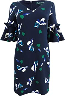 Womens Petites Bell Sleeves Floral Casual Dress