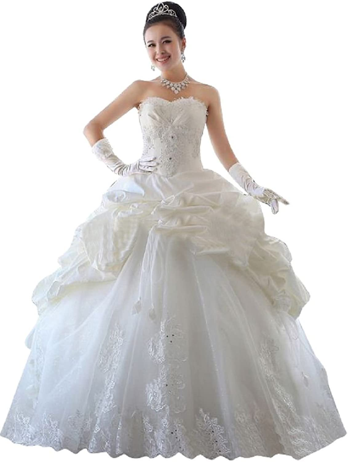 BeautyEmily Strapless Bridal Wedding Dress Princess Lace Prom Formal Ball Gown