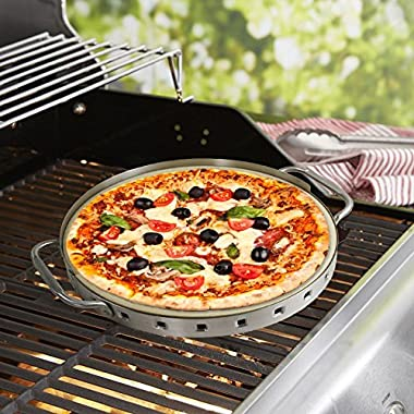 Man Law BBQ Products MAN-PS2 Series Ceramic Pizza Stone with Stainless Steel Frame, One Size, Stainless Steel and Tan