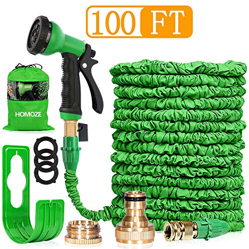 HOMOZE 100FT Expandable Garden Water Hose Pipe Expanding Flexible Hose With Brass Fittings/Quick Connector/8 Function Spray Gun/Hose Storage Bag
