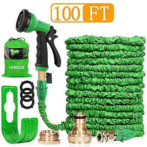 HOMOZE Hose Pipe Expandable Garden Hose Pipe 100FT Expanding Flexible Hosepipe With Brass Fittings/Quick Connector/8 Function Spray Gun/Garden Hose Storage Bag