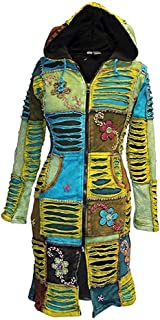 Shopoholic Fashion Women Flower Embroidered Fleece Lined Hippy Jacket Long Over Coat