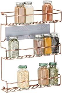 comprar comparacion mDesign Estantería metálica – Especieros de cocina autoadhesivos con 3 niveles para montaje en pared – Ideal como organiza...
