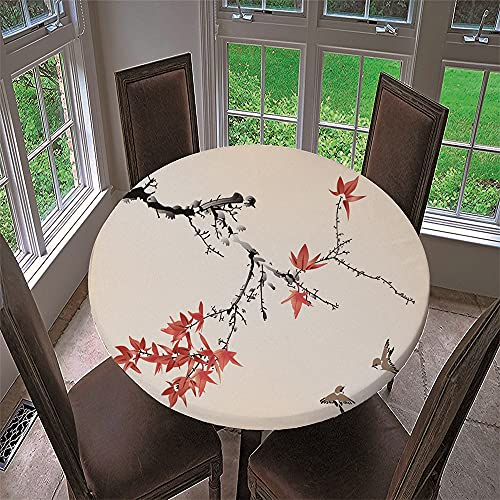 Chickwin Round Fitted 3D Tablecloth with Elastic Edged Waterproof Polyester Chinoiserie Painting Printed Wipe Clean Table Cover for Kitchen Patio Dining Room Outdoor (Maple Leaf,90cm)