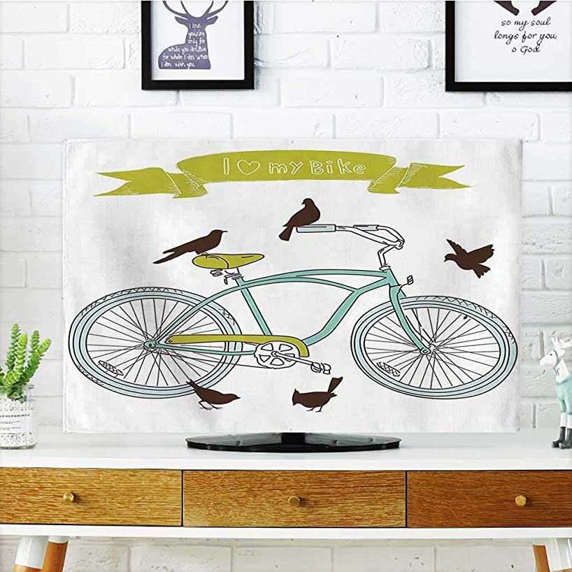 Auraisehome tv Protective Cover I Love My Bike Concept with Birds on The Seat Cruisers Basic Vehicle tv Protective Cover W20 x H40 INCH/TV 40