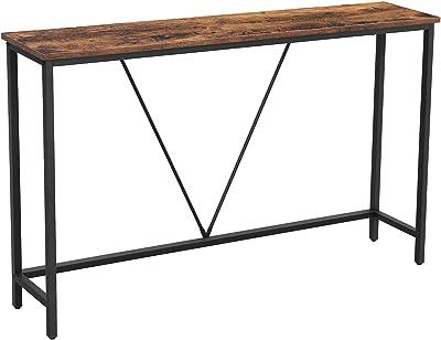 VASAGLE Table Console Structure Stable en Acier, pour entrée, Salon, Chambre à Coucher, Style Industriel, Marron Vintage et Noir, Bois d'ingénierie, 120 x 23 x 74 cm (L x P x A)