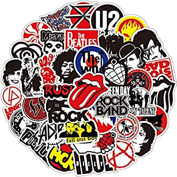Rock Band Stickers 100pcs - Music Stickers for Adults,Guitar Stickers for Hydroflasks Rock Roll Punk Vintage Stickers for Laptop Skateboard Water Bottle Guitar Luggage Kids Gift