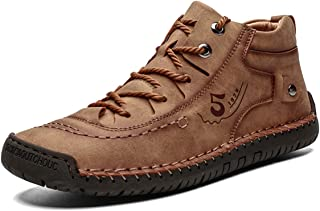 Zapatos de Cuero para Hombre Primavera High Top Planos Botines Casual Mocasines Zapatillas Artificial Transpirable Oxford Conducir Zapatos