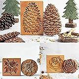 Molde de madera para galletas de jengibre de 1/3 piezas, moldes para hornear galletas de talla exquisita en 3D, moldes para sellos de galletas con fondant DIY, herramienta de sello de prensa (1 Set)