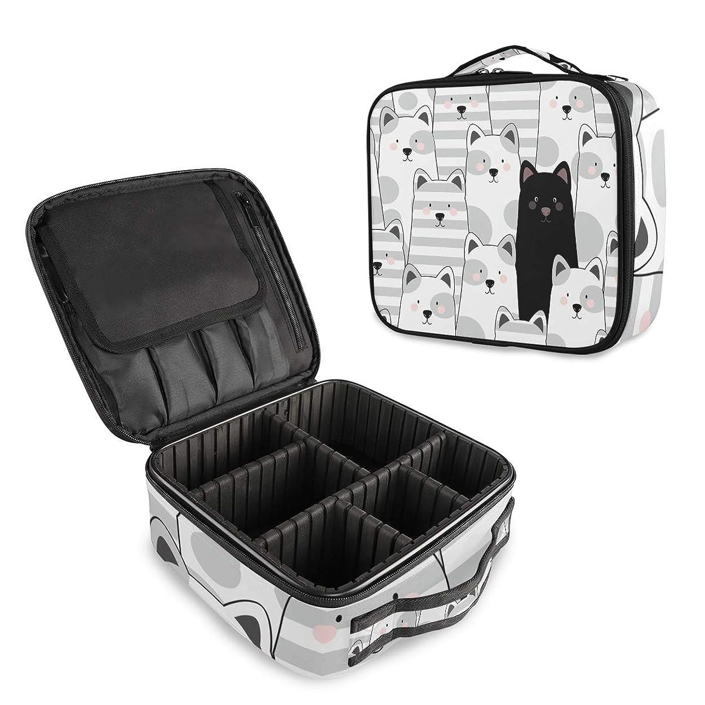うれしいつかいます法的(VAWA) メイクボックス 大容量 プロ用 かわいい 縞模様 猫柄 化粧箱 機能的 コスメ収納 ブラシバッグ 調整可能 旅行出張用