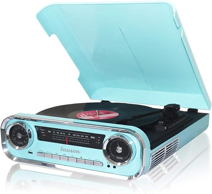 Giradischi designer auto d`epoca 2 altoparlanti stereo integrati | lettore lp con radio fm 01TT1x