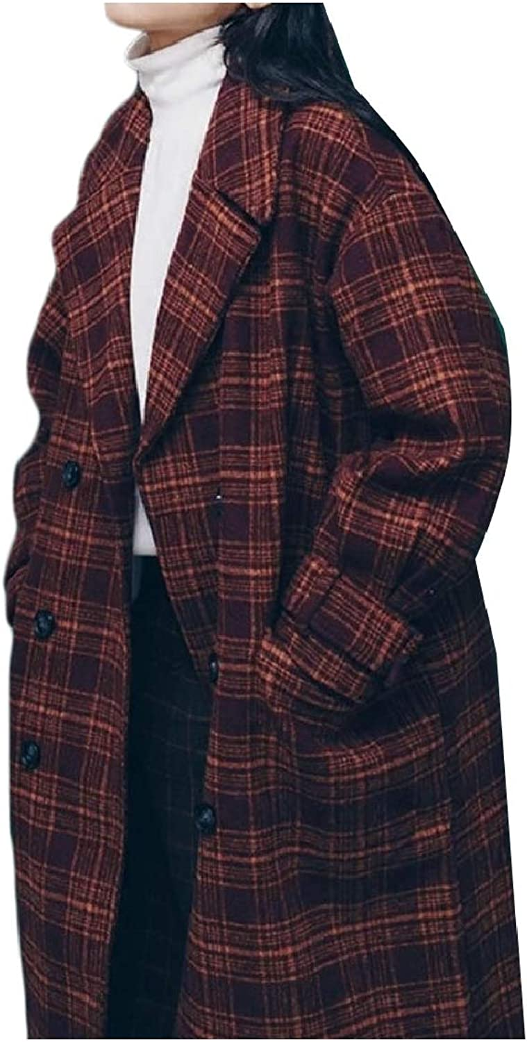 Coolhere Women's Regular Fit Notch Collar Baggy Style Skinny Plaid Pea Coat