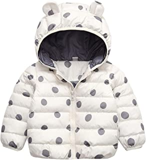 iLOOSKR Kids Winter Warm Coat Toddler Kid Boys Girl Dot Print Zipper Hooded Thick Coat Outwear Clothes