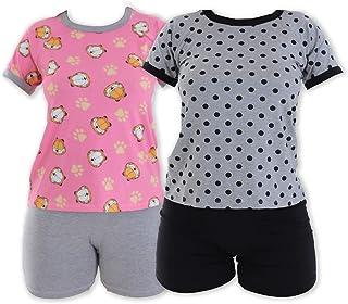 Kit com 02 Pijamas para Dormir Gabi Manga Curta Click Mais Bonita