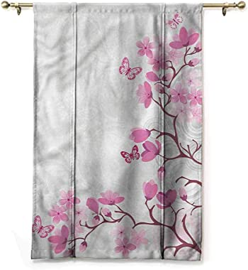 "HouseLookHome Curtain Panels Japanese Tie Up Window Valance Pink Blossoms Butterflies for Kitchen Window Rod Pocket Panel, 48"" W x 72"" L"