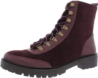 Womens Ilianna Leather Wool Combat Boots, Raisin Suede, Size 9.5