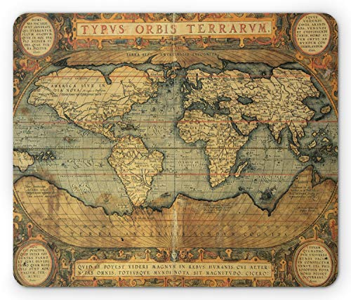 Ambesonne World Map Mouse Pad, Old Chart Vintage Composition of 16th Century Atlas Print, Rectangle Non-Slip Rubber Mousepad, Standard Size, Sand Blue