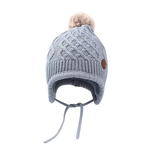 7b1f3c71eec XIAOHAWANG Baby Boy Girls Hats Cute Bear Knit Winter Toddler Beanies  Earflap Fleece Lining Infant Baby