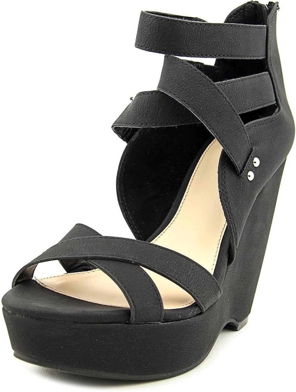 Bar III Womens Samara Open Toe Ankle Wrap Wedge Pumps, Black, Size 9.5