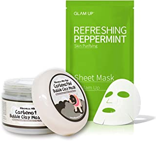 Elizavecca Milky Piggy Carbonated Bubble Clay Mask - Pore Cleansing & Sheet Mask by Glam Up BTS Refreshing Peppermint - Calming, Refreshing, Purifying, pH Balancing Daily Skin Therapy - SET