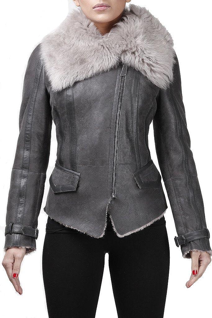 unisex Women's Grey Short Real Toscana Cheap bargain Flying Wool Sheepskin Shearling