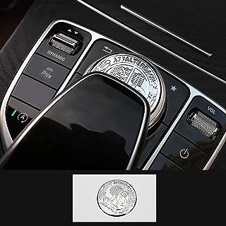 L&U AMG Metall Modified Center Console Multimedia Steuertastenknopf Borte Abdeckung Emblems Aufkleber für Mercedes Benz A B E GLK GLA CLA GLE ML GL Klasse (47mm Knob),Silber