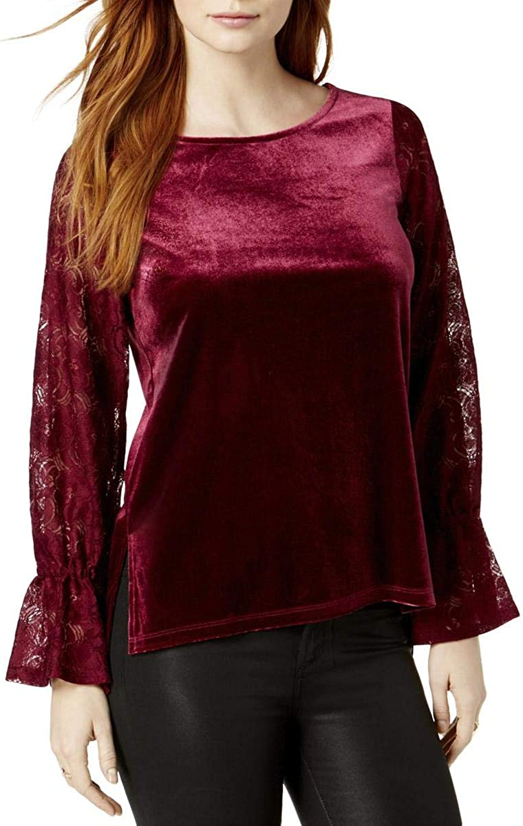 kensie Womens Velvet Super beauty product restock quality top Lace SALENEW very popular! Top Casual Sleeves