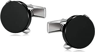 Cufflinks for Men Stainless Steel Cuffs Four Claw Round Black Shirt Dress Suit 1.8X1.8CM black