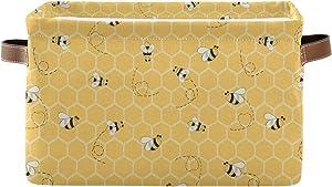 Evlife Storage Basket Cube Yellow Animal Bee Honey Comb Large Collapsible Toys Storage Box Bin Laundry Organizer for Closet Shelf Nursery Kids Bedroom,15x11x9.5 in,1 Pack
